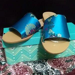 Shoes - Blue Floral Slides